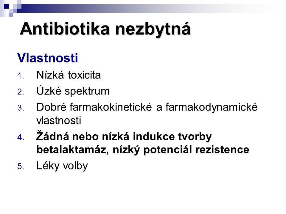 Antibiotika nezbytná Vlastnosti 1. Nízká toxicita 2. Úzké spektrum 3. Dobré farmakokinetické a farmakodynamické vlastnosti 4. Žádná nebo nízká indukce