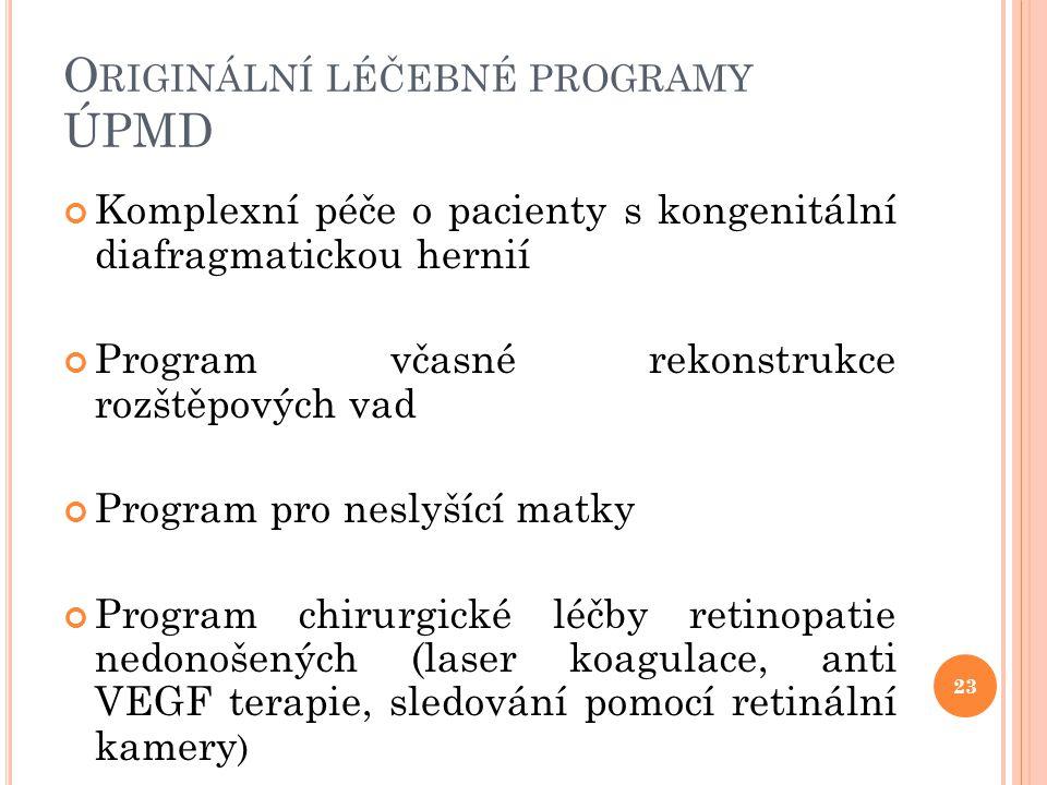 O RIGINÁLNÍ LÉČEBNÉ PROGRAMY ÚPMD Komplexní péče o pacienty s kongenitální diafragmatickou hernií Program včasné rekonstrukce rozštěpových vad Program
