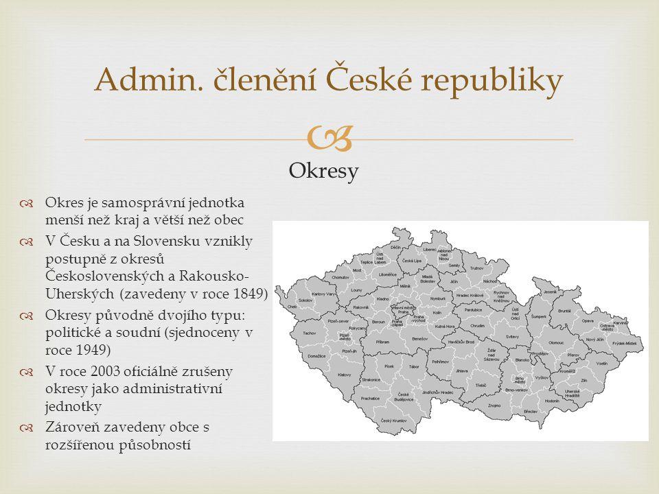  Admin. členění České republiky Okresy  Okres je samosprávní jednotka menší než kraj a větší než obec  V Česku a na Slovensku vznikly postupně z ok