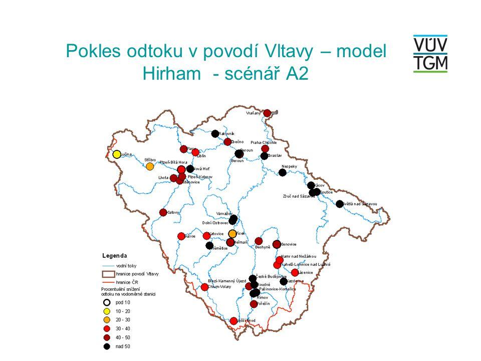 Pokles odtoku v povodí Vltavy – model Hirham - scénář A2