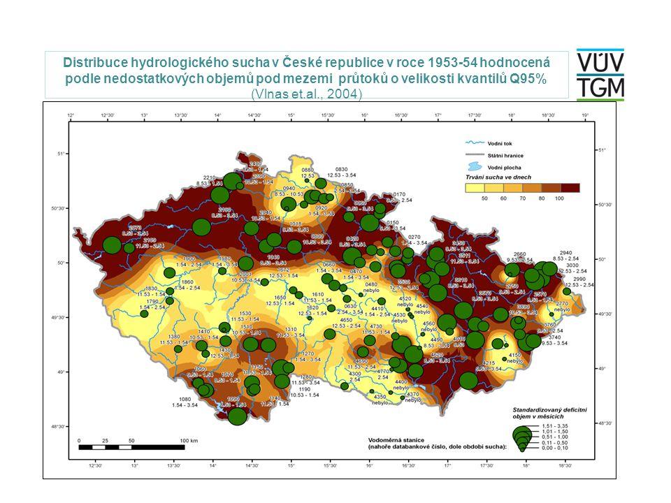 Distribuce hydrologického sucha v České republice v roce 1953-54 hodnocená podle nedostatkových objemů pod mezemi průtoků o velikosti kvantilů Q95% (V