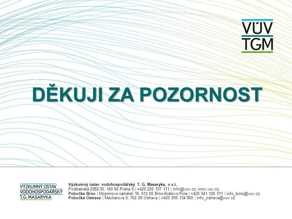 DĚKUJI ZA POZORNOST Výzkumný ústav vodohospodářský T. G. Masaryka, v.v.i. Podbabská 2582/30, 160 00 Praha 6   +420 220 197 111   info@vuv.cz, www.vuv.