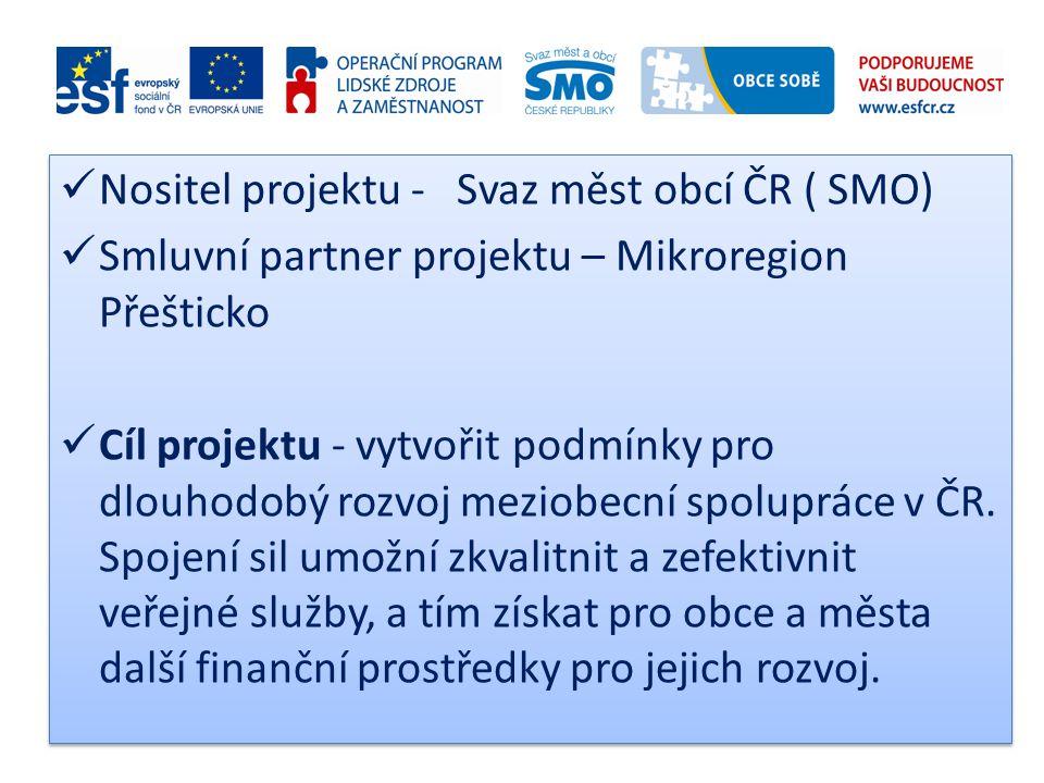  Nositel projektu - Svaz měst obcí ČR ( SMO)  Smluvní partner projektu – Mikroregion Přešticko  Cíl projektu - vytvořit podmínky pro dlouhodobý roz