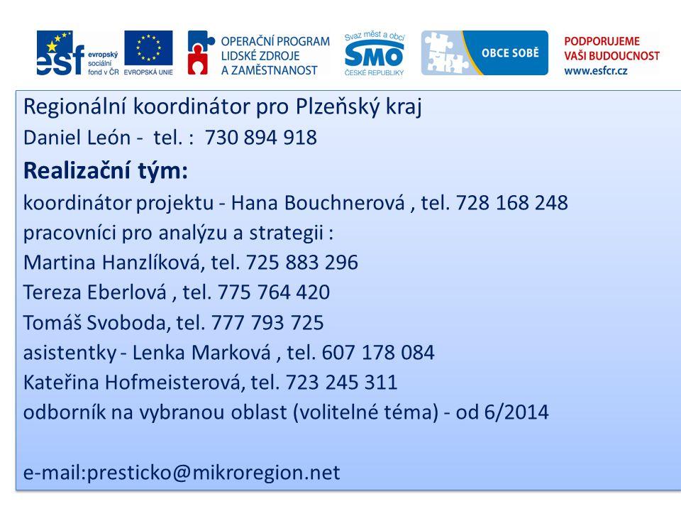 Regionální koordinátor pro Plzeňský kraj Daniel León - tel. : 730 894 918 Realizační tým: koordinátor projektu - Hana Bouchnerová, tel. 728 168 248 pr