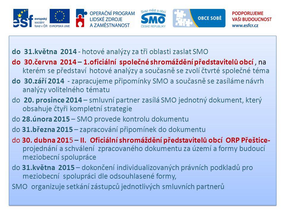 do 31.května 2014 - hotové analýzy za tři oblasti zaslat SMO do 30.června 2014 – 1.oficiální společné shromáždění představitelů obcí, na kterém se pře