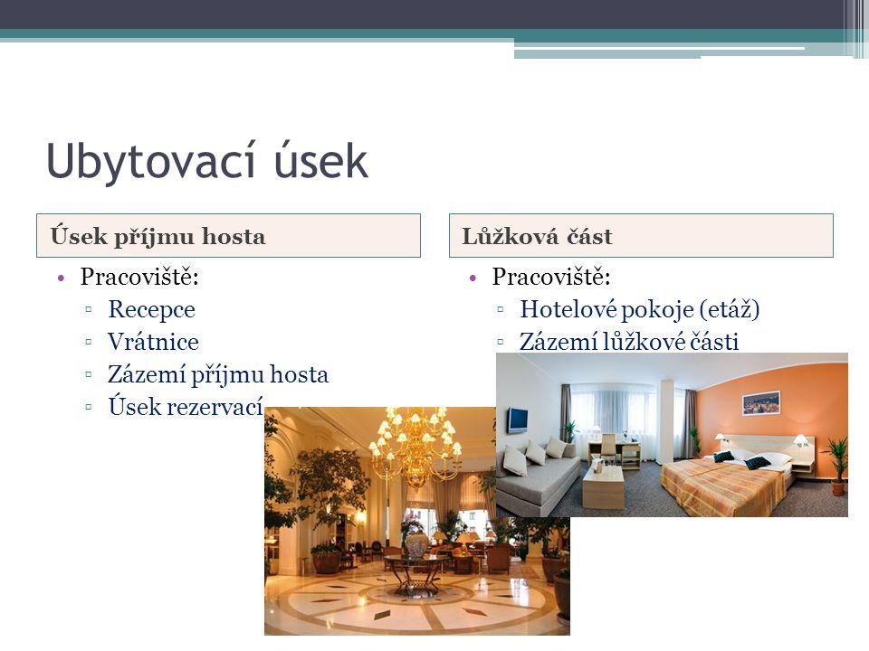 Ubytovací úsek Úsek příjmu hostaLůžková část •Pracoviště: ▫Recepce ▫Vrátnice ▫Zázemí příjmu hosta ▫Úsek rezervací •Pracoviště: ▫Hotelové pokoje (etáž) ▫Zázemí lůžkové části