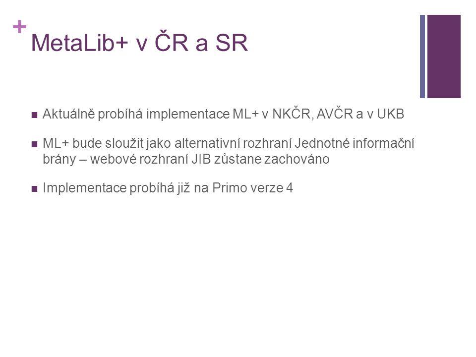 + MetaLib+ v ČR a SR  Aktuálně probíhá implementace ML+ v NKČR, AVČR a v UKB  ML+ bude sloužit jako alternativní rozhraní Jednotné informační brány – webové rozhraní JIB zůstane zachováno  Implementace probíhá již na Primo verze 4