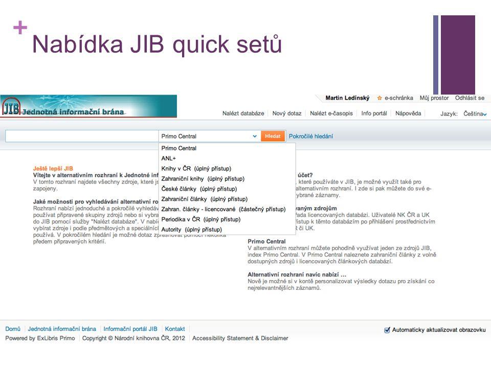 + Nabídka JIB quick setů
