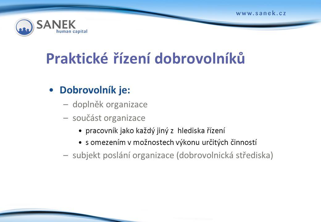 snímek 3 Praktické řízení dobrovolníků •Dobrovolník je: –doplněk organizace –součást organizace •pracovník jako každý jiný z hlediska řízení •s omezen