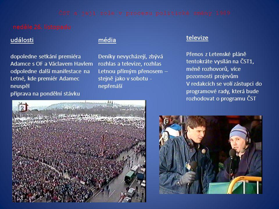 ČST a její role v procesu politické změny 1989 neděle 26. listopadu události dopoledne setkání premiéra Adamce s OF a Václavem Havlem odpoledne další