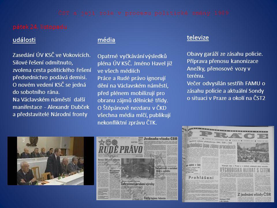 ČST a její role v procesu politické změny 1989 pátek 24. listopadu události Zasedání ÚV KSČ ve Vokovicích. Silové řešení odmítnuto, zvolena cesta poli