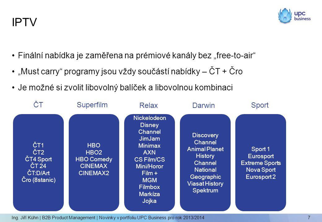 """•Finální nabídka je zaměřena na prémiové kanály bez """"free-to-air •""""Must carry programy jsou vždy součástí nabídky – ČT + Čro •Je možné si zvolit libovolný balíček a libovolnou kombinaci IPTV 7 Ing."""
