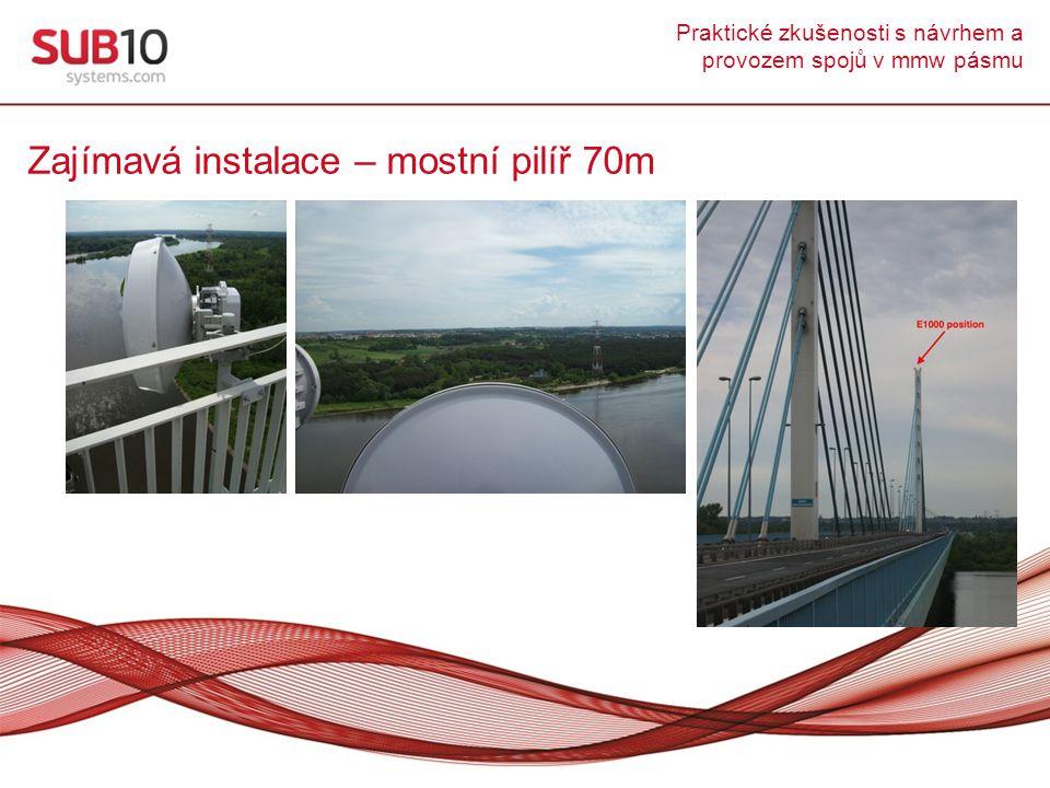 Praktické zkušenosti s návrhem a provozem spojů v mmw pásmu Zajímavá instalace – mostní pilíř 70m