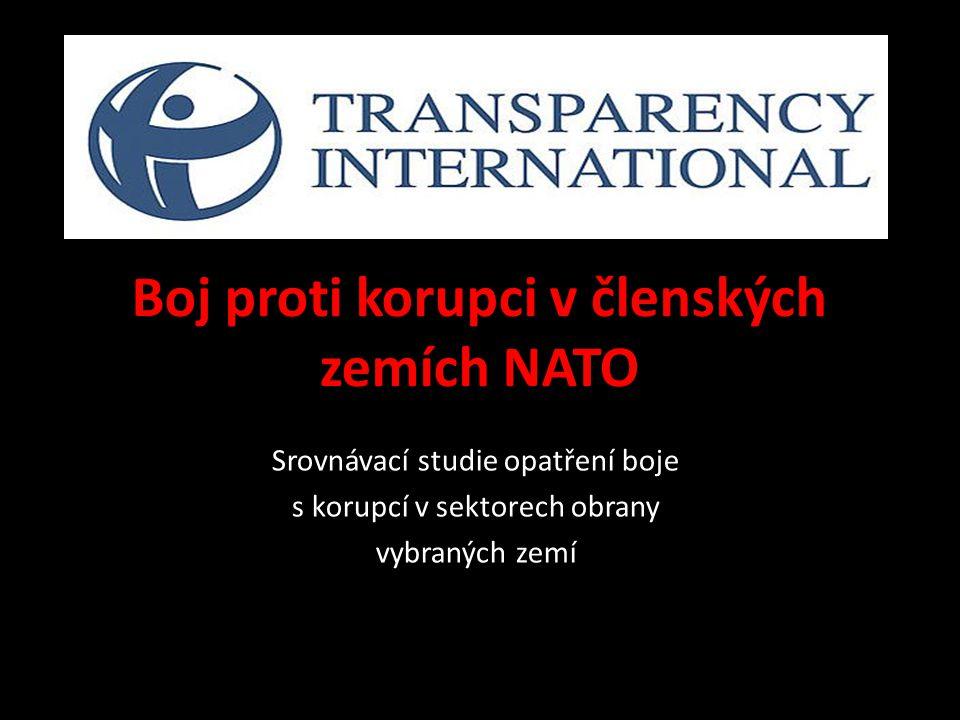 International Defense and Security Programme  82 zemí v 5 oblastech korupčních rizik; řešeno 77 otázek  dokumentace DCAF, zvl.