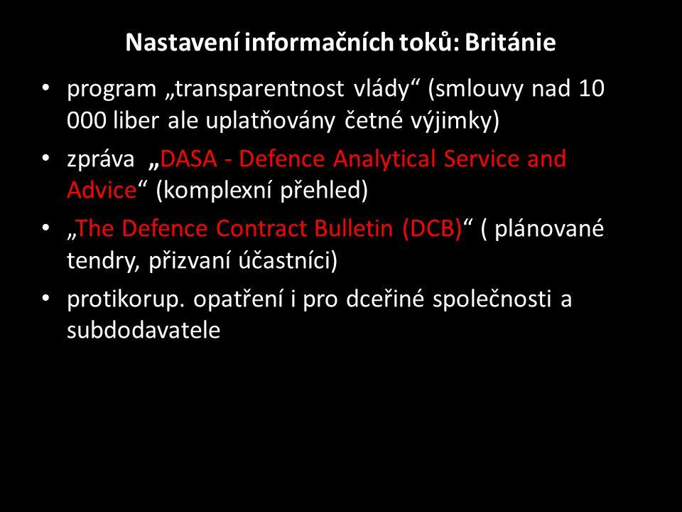 """Nastavení informačních toků: Británie • program """"transparentnost vlády"""" (smlouvy nad 10 000 liber ale uplatňovány četné výjimky) • zpráva """"DASA - Defe"""