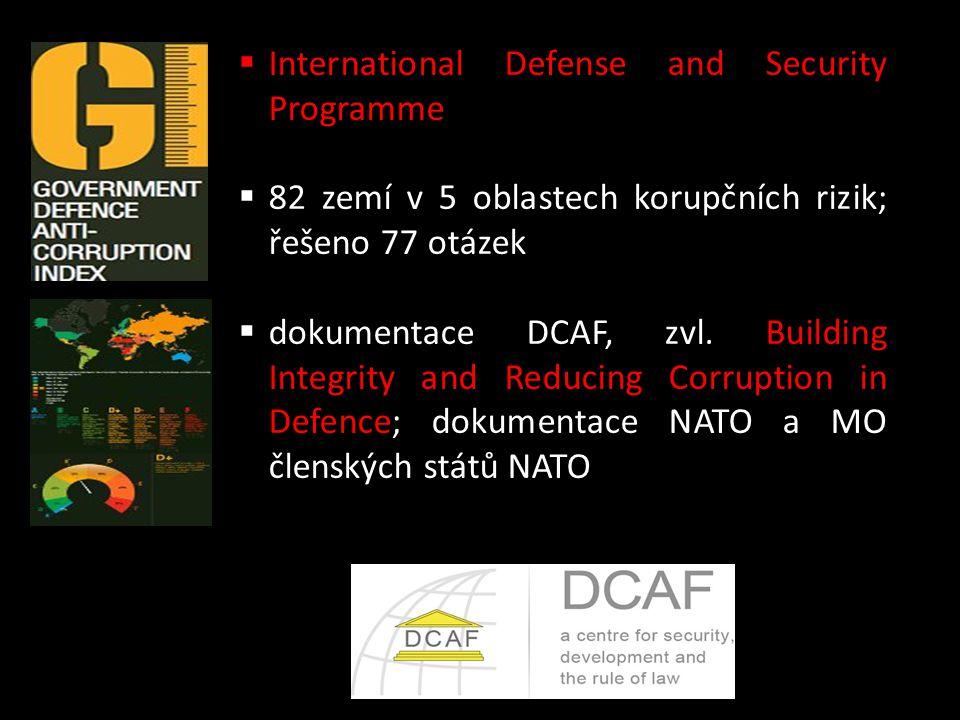  International Defense and Security Programme  82 zemí v 5 oblastech korupčních rizik; řešeno 77 otázek  dokumentace DCAF, zvl. Building Integrity