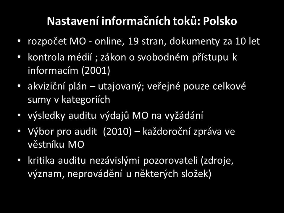 Nastavení informačních toků: Polsko • rozpočet MO - online, 19 stran, dokumenty za 10 let • kontrola médií ; zákon o svobodném přístupu k informacím (