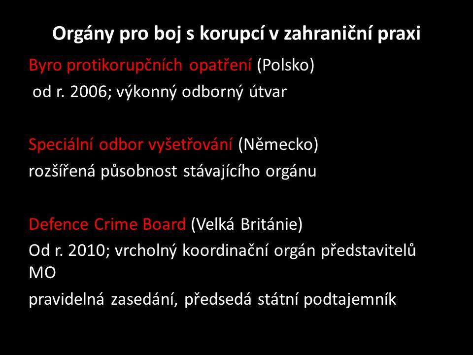 Orgány pro boj s korupcí v zahraniční praxi Byro protikorupčních opatření (Polsko) od r. 2006; výkonný odborný útvar Speciální odbor vyšetřování (Něme