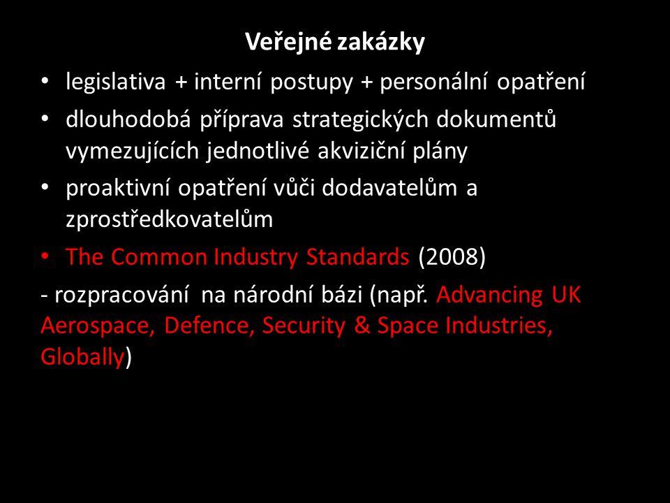 Defense Industry Initiative on Business Ethics and Conduct (1986) • písemný etický kodex obchodního jednání • školení zaměstnanců • podpora oznamování porušování kodexu, ochrana oznamovatelů, vytvoření mechanismů pro dobrovolné oznamování federálním úřadům • členové zajistí monitorování a audit dodržování zákonů k veřejným zakázkám • výměna dobrých zkušeností; 1x ročně fórum • odpovědnost vůči veřejnosti