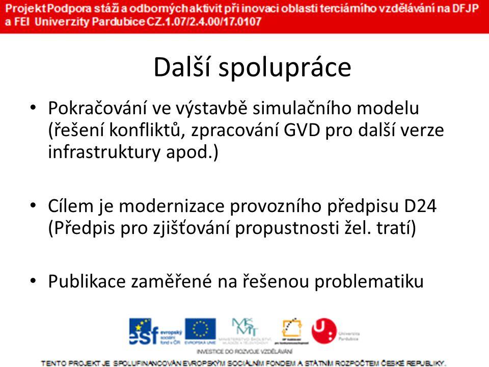 Další spolupráce • Pokračování ve výstavbě simulačního modelu (řešení konfliktů, zpracování GVD pro další verze infrastruktury apod.) • Cílem je modernizace provozního předpisu D24 (Předpis pro zjišťování propustnosti žel.