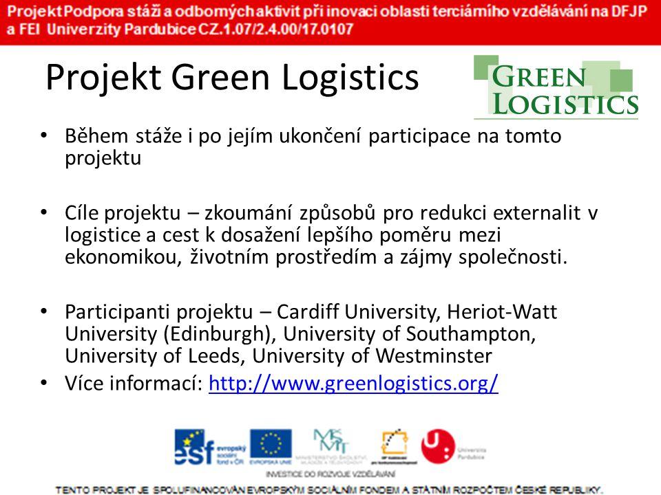 Projekt Green Logistics • Během stáže i po jejím ukončení participace na tomto projektu • Cíle projektu – zkoumání způsobů pro redukci externalit v logistice a cest k dosažení lepšího poměru mezi ekonomikou, životním prostředím a zájmy společnosti.