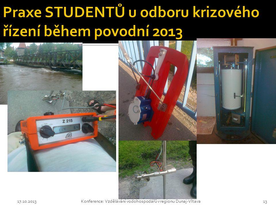 17.10.2013Konference: Vzdělávání vodohospodářů v regionu Dunaj-Vltava13