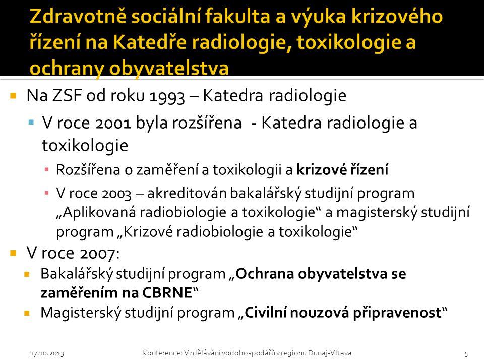 """ Na ZSF od roku 1993 – Katedra radiologie  V roce 2001 byla rozšířena - Katedra radiologie a toxikologie ▪ Rozšířena o zaměření a toxikologii a krizové řízení ▪ V roce 2003 – akreditován bakalářský studijní program """"Aplikovaná radiobiologie a toxikologie a magisterský studijní program """"Krizové radiobiologie a toxikologie  V roce 2007:  Bakalářský studijní program """"Ochrana obyvatelstva se zaměřením na CBRNE  Magisterský studijní program """"Civilní nouzová připravenost 17.10.2013Konference: Vzdělávání vodohospodářů v regionu Dunaj-Vltava5"""