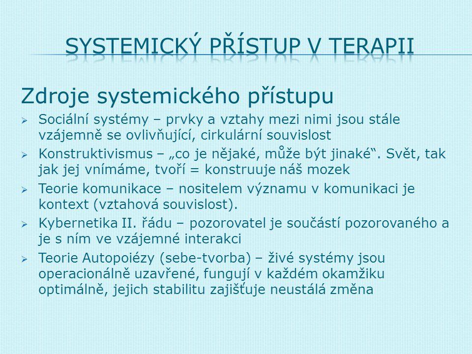 Zdroje systemického přístupu  Sociální systémy – prvky a vztahy mezi nimi jsou stále vzájemně se ovlivňující, cirkulární souvislost  Konstruktivismu