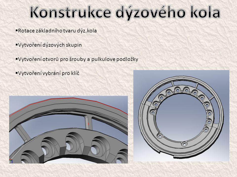  Rotace základního tvaru dýz.kola  Vytvoření dýzových skupin  Vytvoření otvorů pro šrouby a pulkulove podložky  Vytvoření vybrání pro klíč