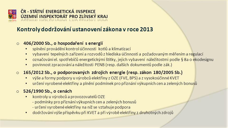 o 406/2000 Sb., o hospodaření s energií • splnění provádění kontrol účinnosti kotlů a klimatizací • vybavení tepelných zařízení a rozvodů z hlediska účinnosti a požadovaným měřením a regulací • označování el.