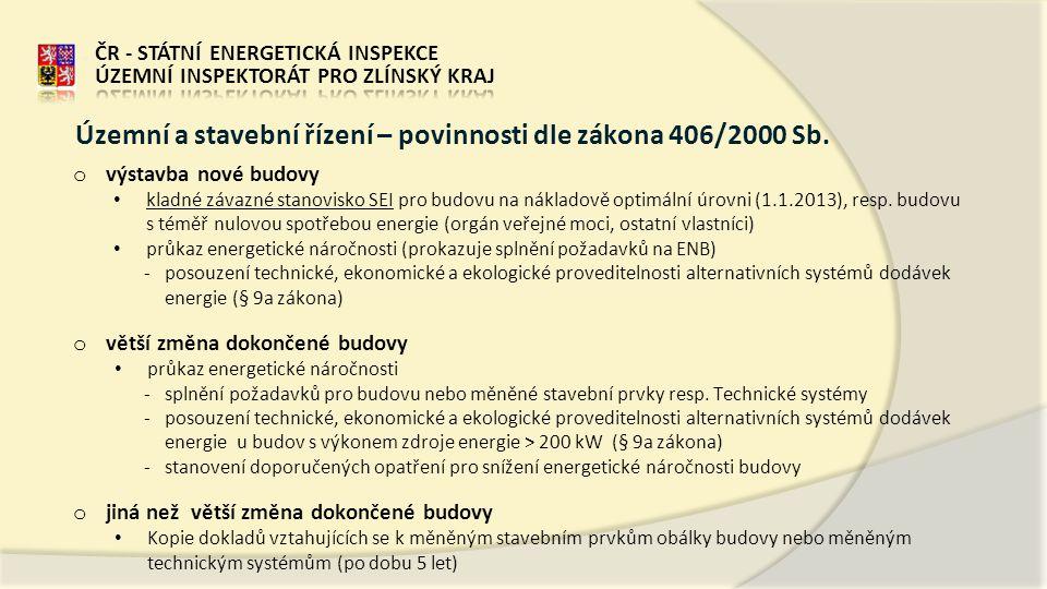 o výstavba nové budovy • kladné závazné stanovisko SEI pro budovu na nákladově optimální úrovni (1.1.2013), resp.