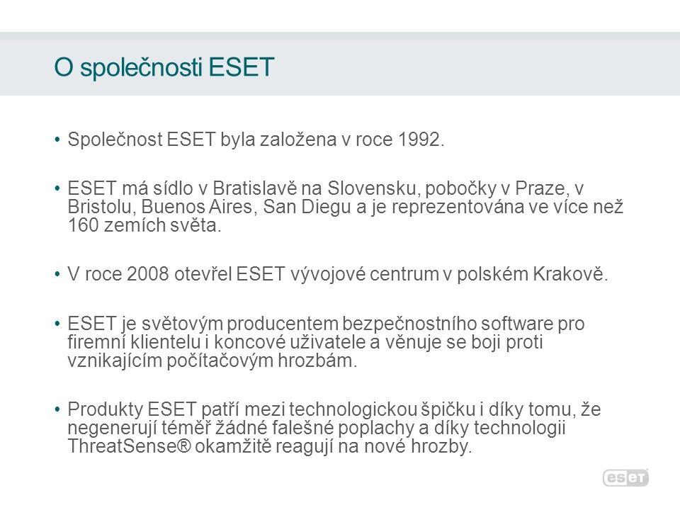 O společnosti ESET •Společnost ESET byla založena v roce 1992.
