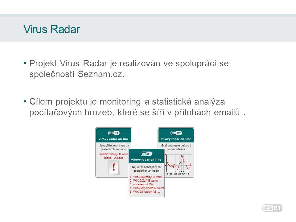 Virus Radar •Projekt Virus Radar je realizován ve spolupráci se společností Seznam.cz.