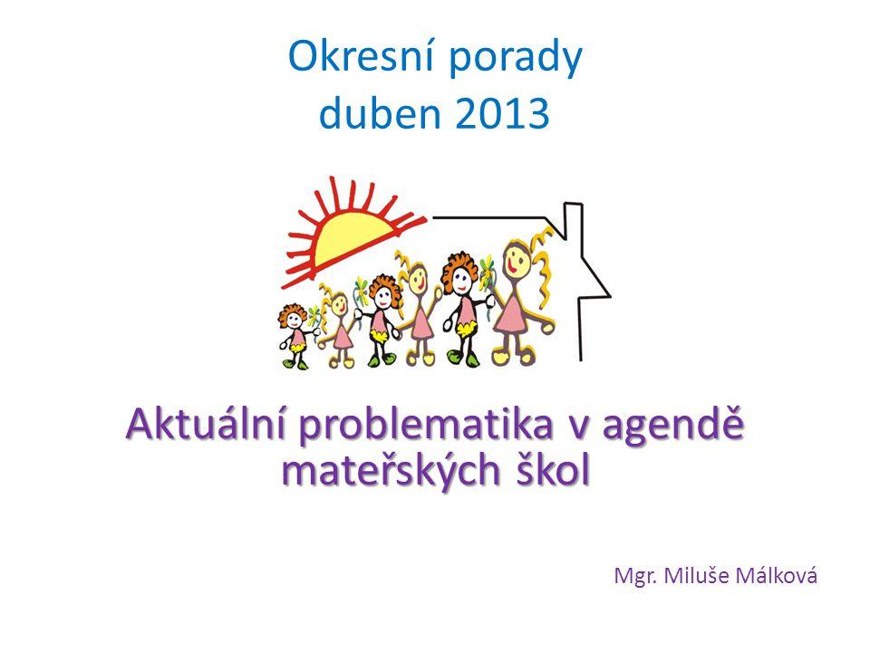 Okresní porady duben 2013 Aktuální problematika v agendě mateřských škol Mgr. Miluše Málková