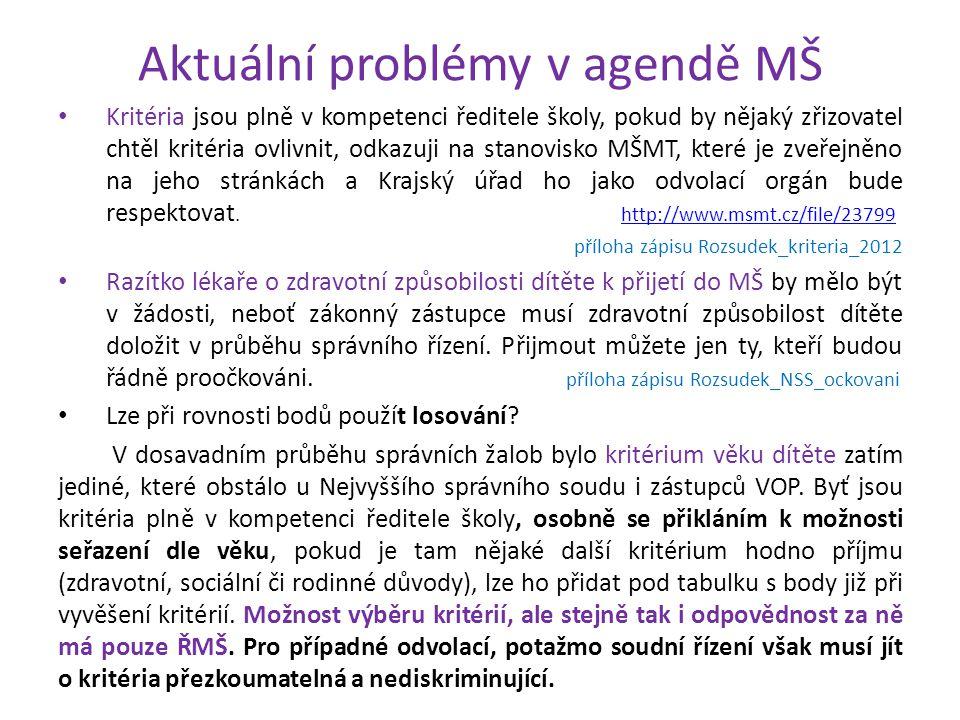 Aktuální problémy v agendě MŠ • Kritéria jsou plně v kompetenci ředitele školy, pokud by nějaký zřizovatel chtěl kritéria ovlivnit, odkazuji na stanov