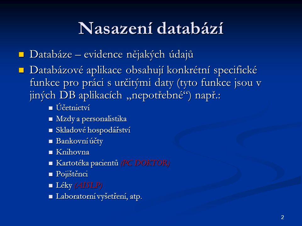 2 Nasazení databází  Databáze – evidence nějakých údajů  Databázové aplikace obsahují konkrétní specifické funkce pro práci s určitými daty (tyto fu