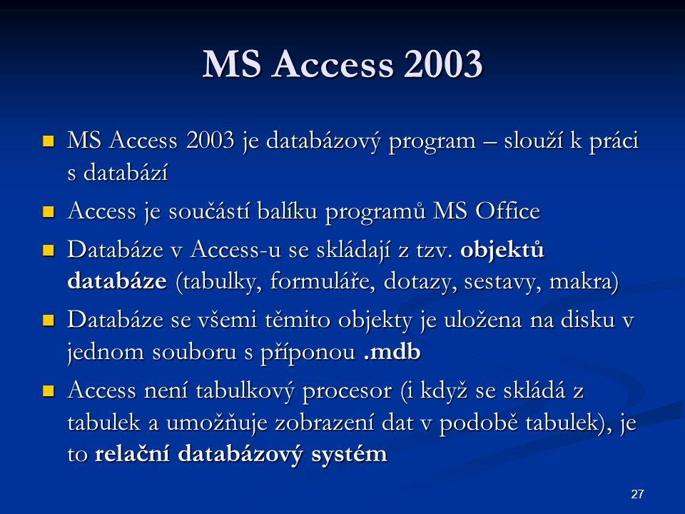27 MS Access 2003  MS Access 2003 je databázový program – slouží k práci s databází  Access je součástí balíku programů MS Office  Databáze v Acces