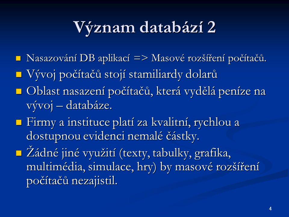 4 Význam databází 2  Nasazování DB aplikací => Masové rozšíření počítačů.  Vývoj počítačů stojí stamiliardy dolarů  Oblast nasazení počítačů, která