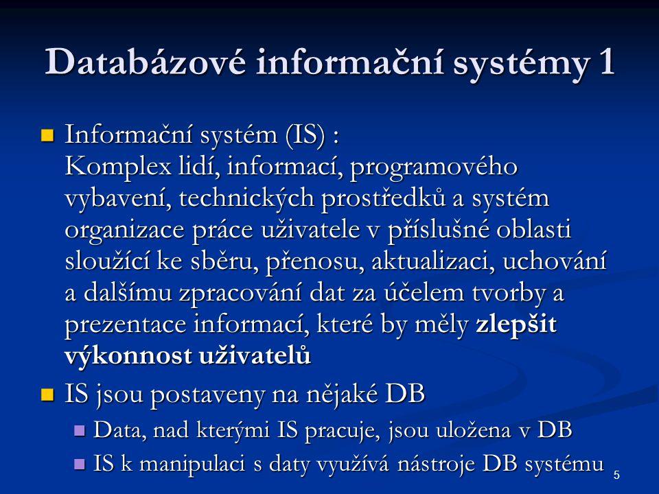 6 Databázové informační systémy 2  Obvykle klient-server architektura  Všechny data jsou uložena na serveru  Klienti přistupují k datům podle stanovených práv a pravidel (má určeno co může vidět a co může měnit)  Výhody: jednodušší archivace, přístup k datům možný z libovolného počítače v síti (i z Internetu), operace s daty provádí jenom server, odpadá přenos velkého objemu dat, zrychlení práce  Nevýhody: ohrožení dat výpadkem serveru (řešení: vícenásobné ukládání dat, zdvojení dat, záložný server), při zapojení serveru do Internetu i možnost napadení a krádeže dat (řešení: speciální programy, technická i organizační opatření)