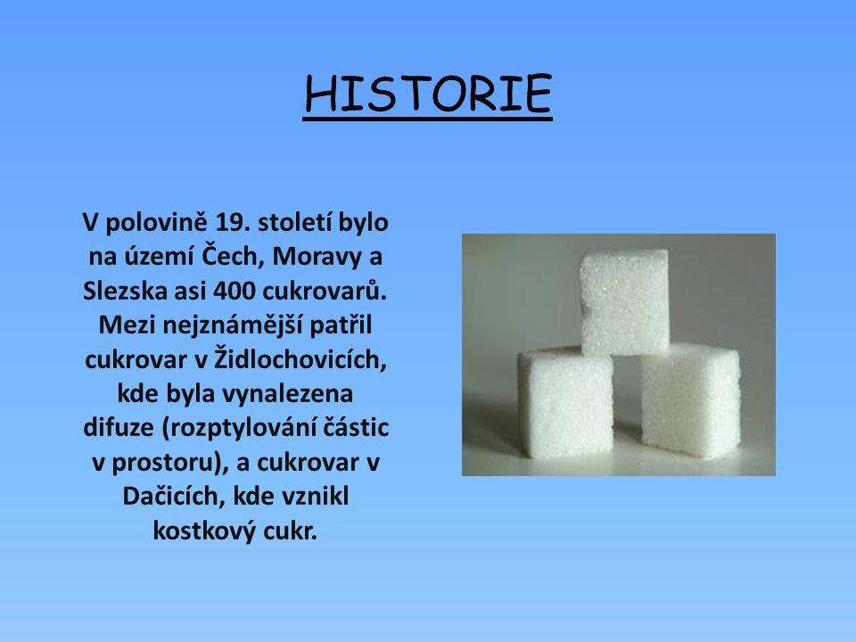 HISTORIE V polovině 19.století bylo na území Čech, Moravy a Slezska asi 400 cukrovarů.