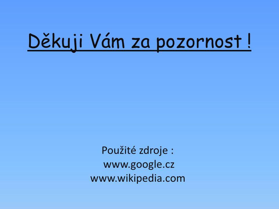 Děkuji Vám za pozornost ! Použité zdroje : www.google.cz www.wikipedia.com