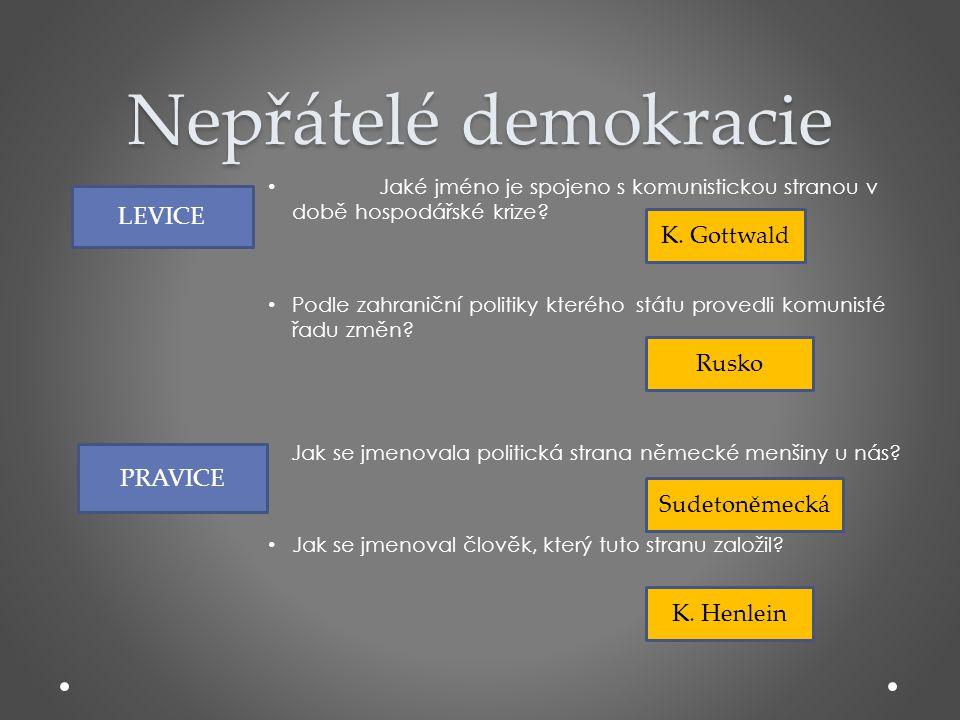 Nepřátelé demokracie • Jaké jméno je spojeno s komunistickou stranou v době hospodářské krize? • Podle zahraniční politiky kterého státu provedli komu