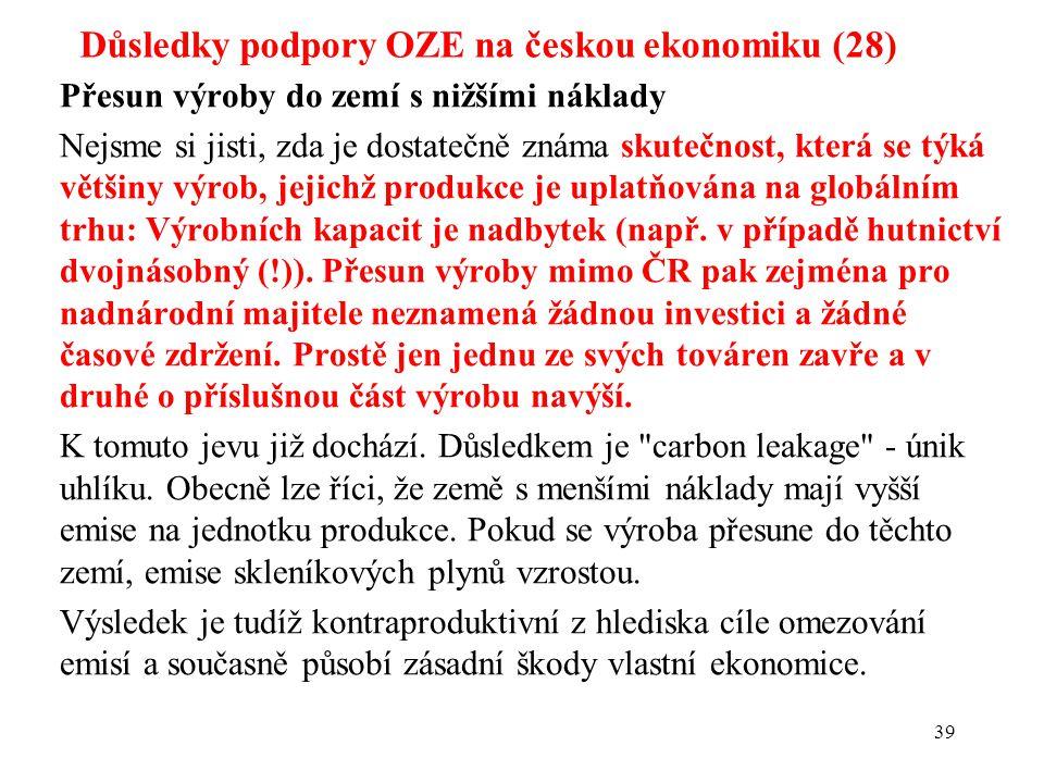 Důsledky podpory OZE na českou ekonomiku (28) Přesun výroby do zemí s nižšími náklady Nejsme si jisti, zda je dostatečně známa skutečnost, která se týká většiny výrob, jejichž produkce je uplatňována na globálním trhu: Výrobních kapacit je nadbytek (např.