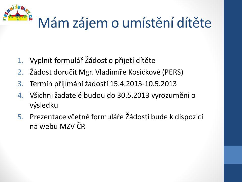 Mám zájem o umístění dítěte 1.Vyplnit formulář Žádost o přijetí dítěte 2.Žádost doručit Mgr. Vladimíře Kosičkové (PERS) 3.Termín přijímání žádostí 15.