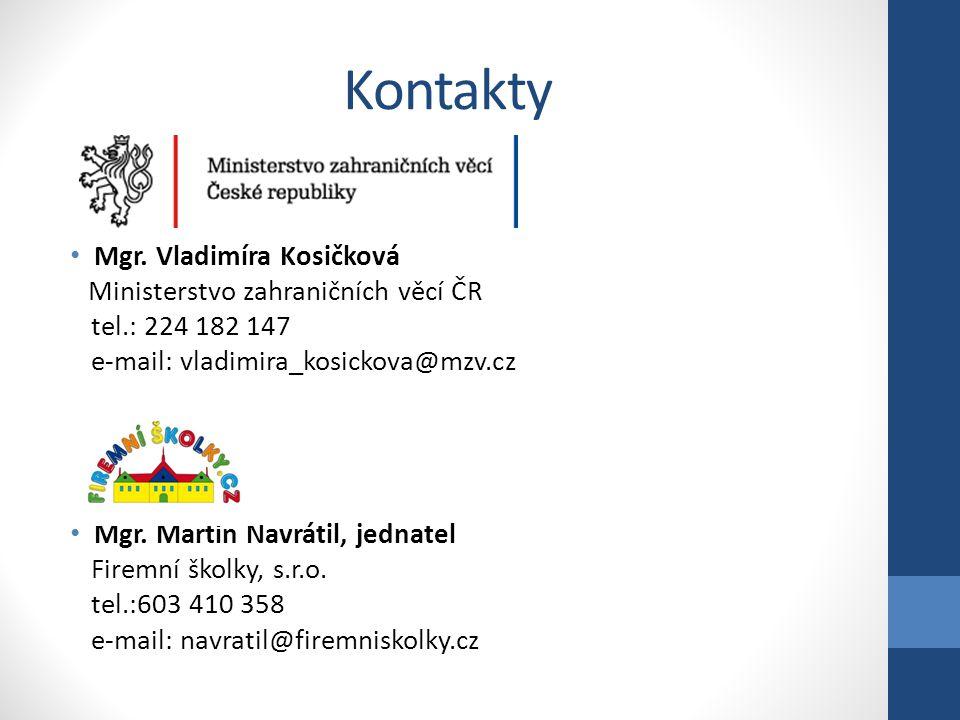 Kontakty • Mgr. Vladimíra Kosičková Ministerstvo zahraničních věcí ČR tel.: 224 182 147 e-mail: vladimira_kosickova@mzv.cz • Mgr. Martin Navrátil, jed