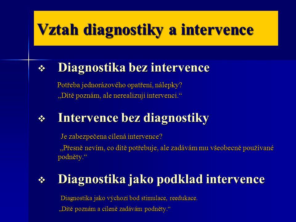 Vztah diagnostiky a intervence  Diagnostika bez intervence Potřeba jednorázového opatření, nálepky.
