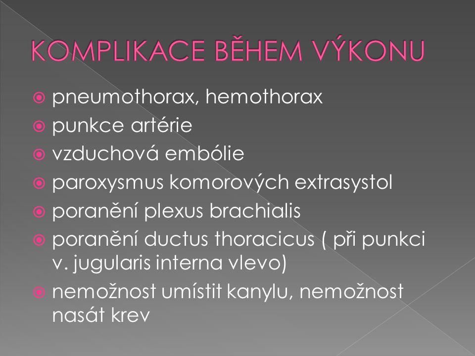  pneumothorax, hemothorax  punkce artérie  vzduchová embólie  paroxysmus komorových extrasystol  poranění plexus brachialis  poranění ductus tho