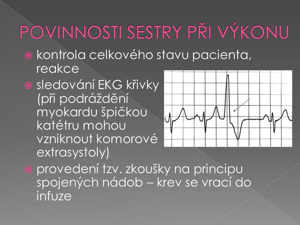  kontrola celkového stavu pacienta, reakce  sledování EKG křivky (při podráždění myokardu špičkou katétru mohou vzniknout komorové extrasystoly)  p