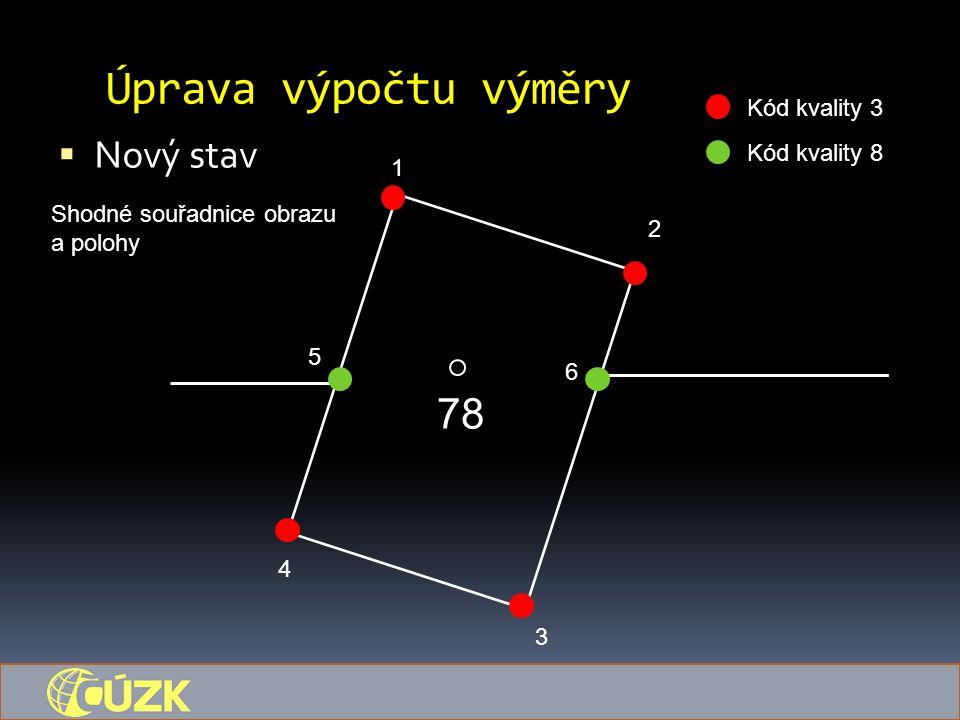 Úprava výpočtu výměry  Nový stav 78 1 5 6 4 3 2 Kód kvality 3 Kód kvality 8 Shodné souřadnice obrazu a polohy