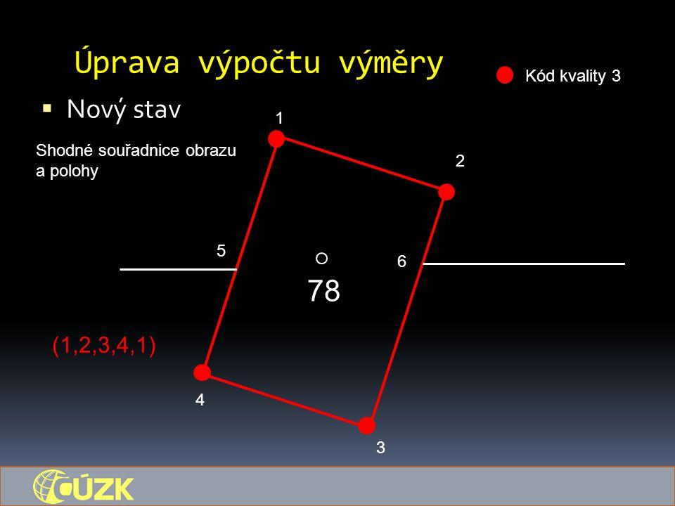 Úprava výpočtu výměry  Nový stav 78 1 5 6 4 3 2 Kód kvality 3 Shodné souřadnice obrazu a polohy (1,2,3,4,1)